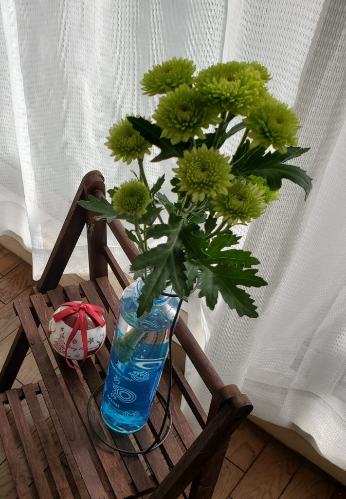 put a flower in blue pet bottle